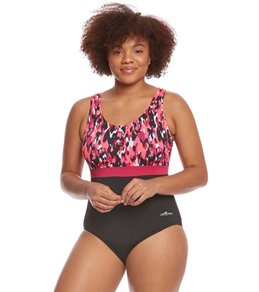 Dolfin Aquashape Women S Plus Size Camo Chic Moderate Scoop Back Color Block One Piece Swimsuit