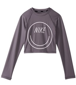 Nike Girls' Swim Long Sleeve Crop Rash Guard (Big Kid)