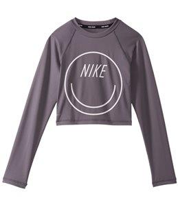 Nike Girls' Swim Long Sleeve Crop Rash Guard (Big Kid)