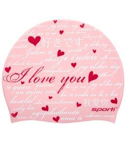 Sporti I Love You Silicone Swim Cap