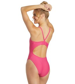 Sporti Solid Thin Strap One Piece Swimsuit