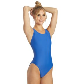 Sporti Solid Wide Strap One Piece Swimsuit