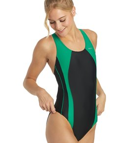 8d49dc769ed Sporti Piped Splice Wide Strap One Piece Swimsuit