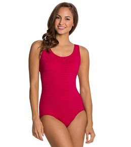 Penbrooke Krinkle Cross Back Chlorine Resistant One Piece Swimsuit (D-Cup)