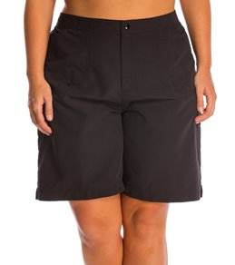 Maxine Women's Plus Size Solid Woven Long Boardshort