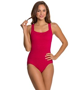 539865a5e78bb Penbrooke Krinkle Chlorine Resistant Active Back One Piece Swimsuit