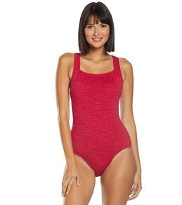 2535fb109a0ca Penbrooke Krinkle Chlorine Resistant Active Back One Piece Swimsuit (D-Cup)