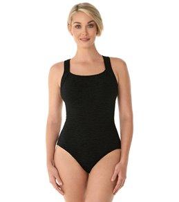 Penbrooke Krinkle Chlorine Resistant Active Back One Piece Swimsuit (D-Cup)