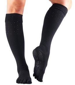 Toesox Knee High Scrunch Full-Toe Yoga Grip Socks