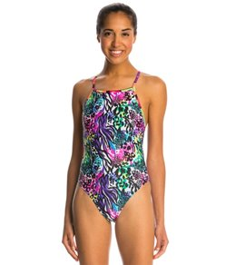 Illusions Activewear Women's Natalie Multi Print Thin Strap One Piece Swimsuit