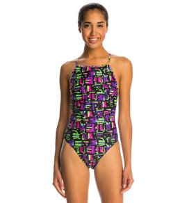 Illusions Activewear Women's Abbey Neon Print Thin Strap One Piece Swimsuit