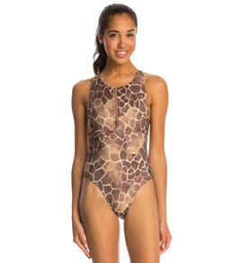 Illusions Activewear Leah Giraffe Water Polo One Piece Swimsuit