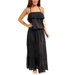 Sunsets Coastal Crochet Black Boardwalk Maxi Dress