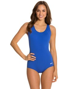 ac67fc9ddf7e9 Dolfin AquaShape Conservative Lap Suit Solid Polyester One Piece Swimsuit
