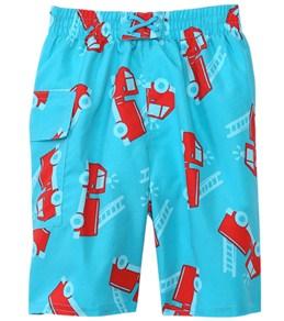 iPlay Boys' Aqua Fire Truck Swim Diaper Pocket Trunks (6mos-4yrs)