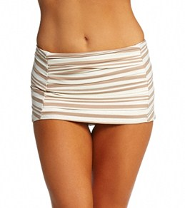 DKNY City Lines Draped Swim Skirted Bikini Bottom