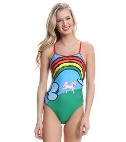 Splish Unicorns and Rainbows Thin Strap One Piece Swimsuit