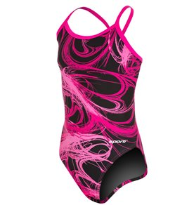 Sporti Light Wave Thin Strap One Piece Swimsuit Youth (22-28)