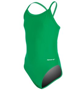 Sporti Solid Thin Strap One Piece Swimsuit Youth (22-28)