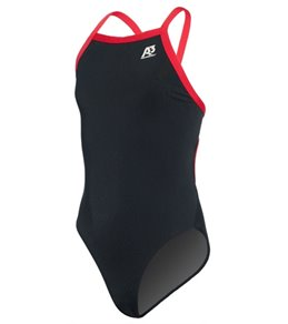 A3 Performance Female Youth X-Back Poly Swimsuit w/ Contrast Trim