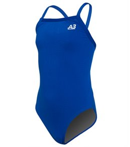 A3 Performance Female Youth X-Back Solid Poly Swimsuit
