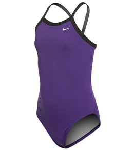 나이키 여아(7~16) 강습용 원피스 수영복 Nike Girls Solid Poly Lingerie Tank One Piece Swimsuit,Court Purple