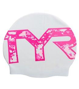 TYR Pink Graphic Swim Cap