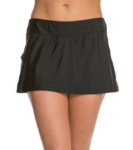 Beach Diva Solid Side Zipper Skort