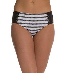 Maidenform Swimwear Beach Mesh Stripe High Waist Bikini Bottom