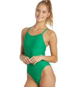 iSwim Essential Solid Thin Strap One Piece Swimsuit