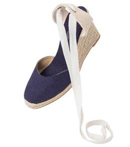 Soludos Women's Navy Linen Tall Wedge Sandal