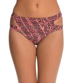 Red Carter Python 80's High Waist Cut Out Bikini Bottom