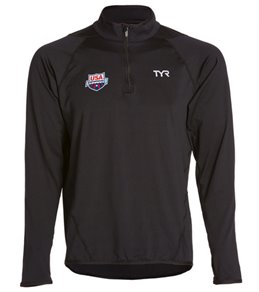 TYR USA Swimming All Elements Men's Long Sleeve 1/4 Zip Pullover