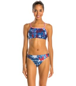 Illusions Activewear Vintage Americana Two Piece Swimsuit Workout Swimsuit