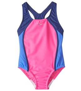 d564ff1fe81 Speedo Girls' Mesh Splice Thick Strap One Piece Swimsuit (7yrs-16yrs)