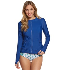 Cabana Life The Essentials Solid L/S Zip-Up Rashguard