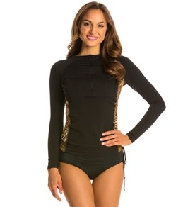 Illusions Activewear Women's Ruched Rashguard with Leopard Splice