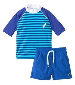 Platypus Australia Boys Sailor Stripe Rashguard/Swim Short Set (6M-24M)