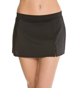 Caribbean Joe Solid Side Slit Swim Skirt