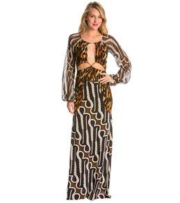 Indah Celia Printed Blouson Open Back Maxi Cover Up Dress