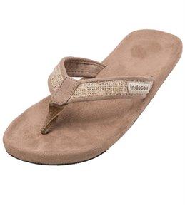Indosole Women's Tan Burlap Flip Flop