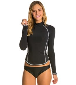 Girls4Sport Solid L/S Rashguard with White Stitching and Shelf Bra