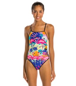 Turbo Flamingo Thin Strap One Piece Swimsuit