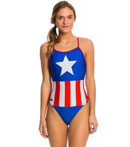 Splish Big Star Thin Strap One Piece Swimsuit