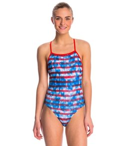 Speedo Champs & Stripes Printed One Back One Piece Swimsuit
