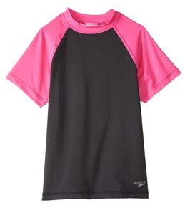 48447d4a8f94dd Speedo Girls' Colorblock UPF 50+ Short Sleeve Rashguard (7yrs-16yrs)