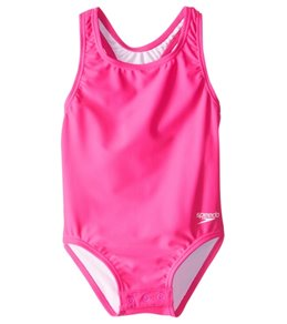 Speedo Girls' Solid Racerback One Piece with Snap Bottom (12mos-3T)