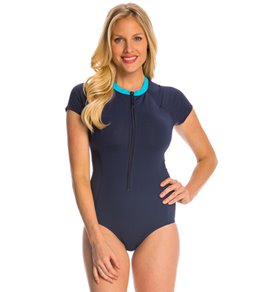 Anne Cole Women's Laser Dot S/S Front Zip One Piece Swimsuit
