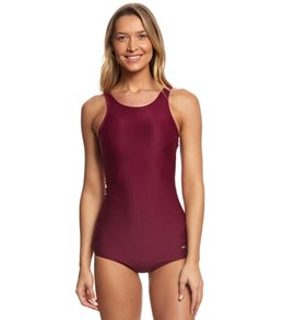 Sporti Polyester Conservative Solid Fitness One Piece Swimsuit