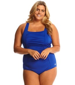 Speedo Shirred Tank Plus Size One Piece Swimsuit